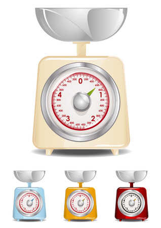 weighing scale: Retro Kitchen Scale Illustration (Global Swatches Included)