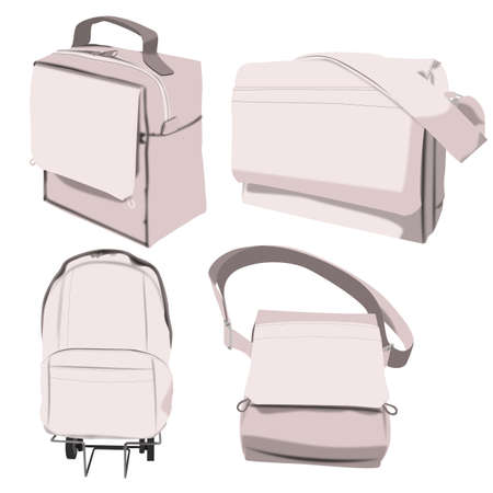 bookbag: Illustration of four different bags for school or leisure