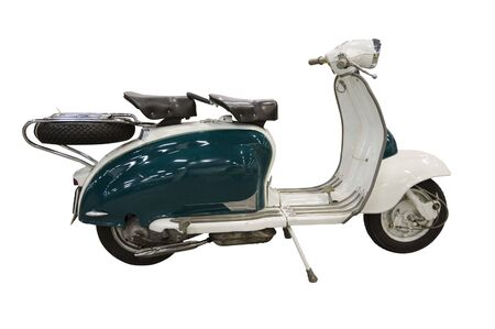 Vintage green and white scooter. path is included on file. Stock Photo - 4895343