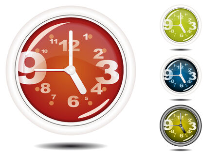 Office Wall Clock Illustration (Global Swatches Included) Vector