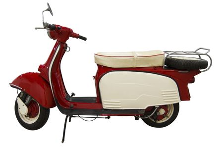 Vintage red and white scooter. Stock Photo - 4951974