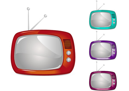 Retro Television Illustration (Global Swatches Included) Vector