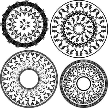 Set of four round black and white patterns illustration