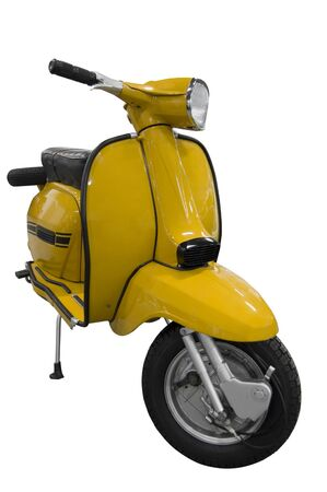 Vintage black and yellow scooter. Stock Photo