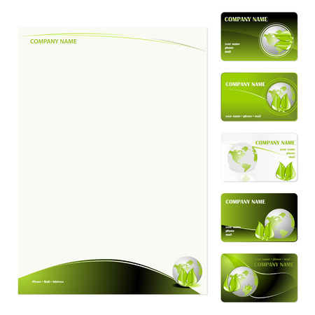 Set of five green planet business cards and stationery sheet. Global Swatches Included. Illustration