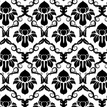 Illustration of a black and white vintage floral pattern Illustration