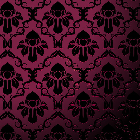 Illustration of a purple and black vintage floral pattern Vector