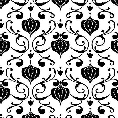 Illustration of a black and white vintage floral pattern Vector