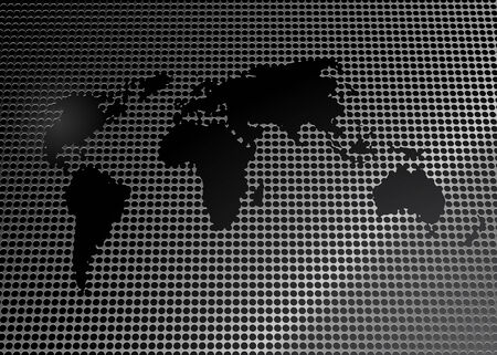 Illustration of a world map cut out of a metal grid. Vector