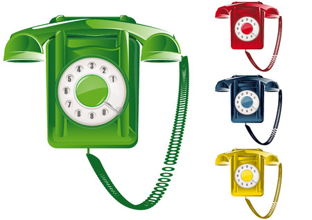 call history: Retro Telephone Illustration (Global Swatches Included)