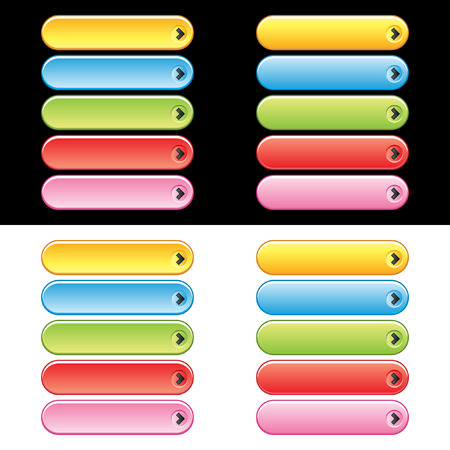 Colorful web button set. Easy to change colors.