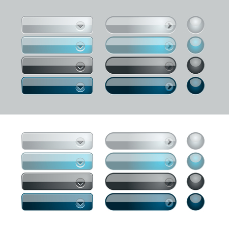 menu button: Blue and Black web button set. Easy to change colors. Illustration