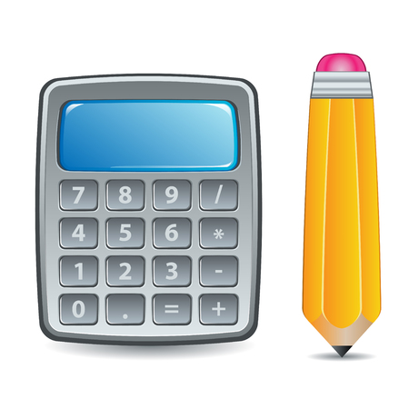 Calculator and Pencil Icon or Symbol Illustration