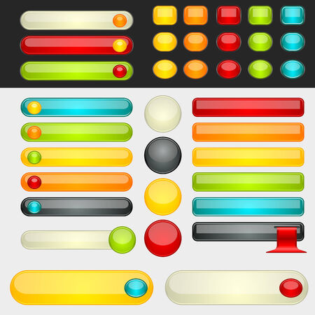 website buttons: Colorful web button set. Global swatches included. Easy to change colors.