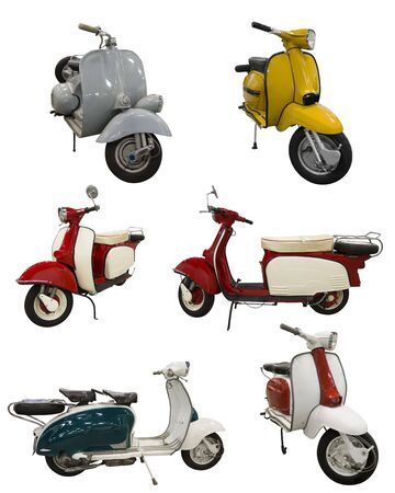 motor scooter: Six Pack of vintage scooters over with background