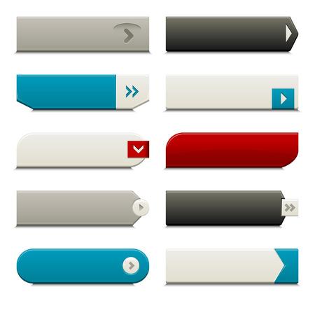 knopf: Zehn aufrufen, um Aktionsschaltfl�chen, mit unterschiedlichen Stilen und Formen. Mit Global Farbfelder gemacht. Illustration