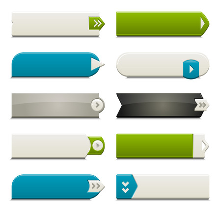 Diez llamar a los botones de acción, con diferentes estilos y formas. Elaborado con muestras globales.  Ilustración de vector