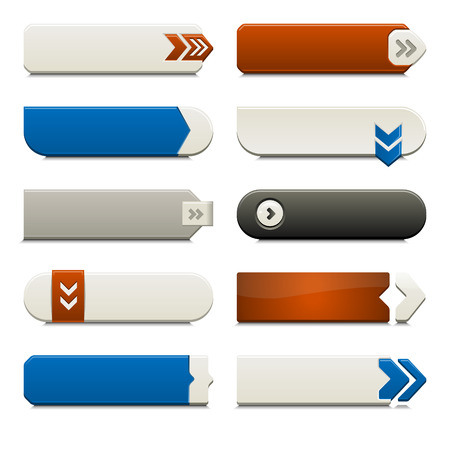 web page elements: Ten call to action buttons, with different styles and shapes. Made with Global Swatches.