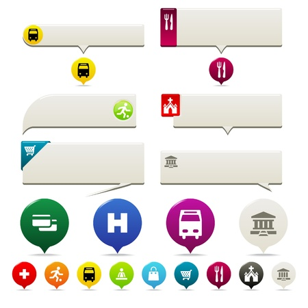 Pin points and Tooltip set. Six tooltip styles and Pin Points with icons in several colors. Vector