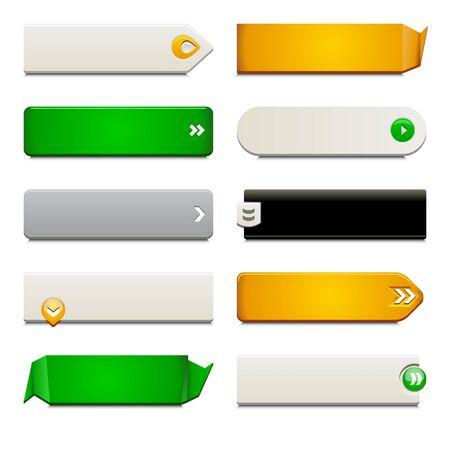 Dix appel à des boutons d'action, avec des styles et de formes différentes. Fabriqué avec des échantillons globaux.