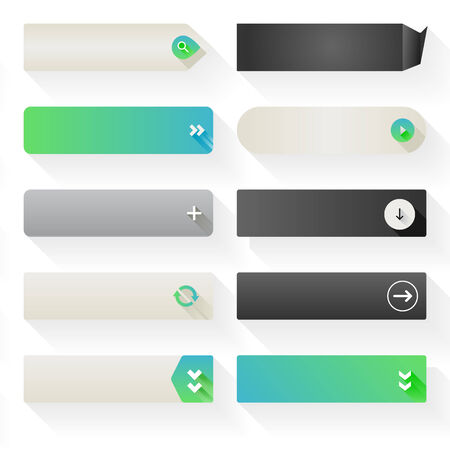 Ten call to action buttons, with different styles and shapes  Made with Global Swatches  Illustration