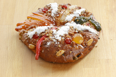 Bolo Rei is a traditional portuguese Christmas cake made with candid fruit.
