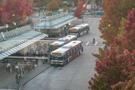 Bus station in fall season