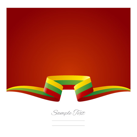 Abstract background Lithuanian flag ribbon Vector