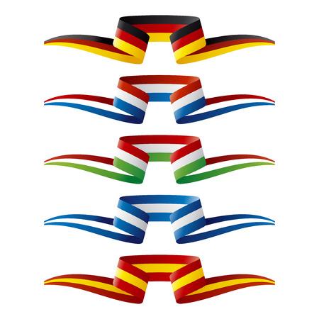 comida alemana: Resumen de color de Europa banderas cinta Vectores