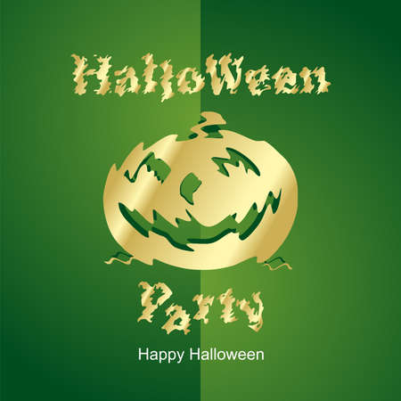 Halloween Gold Party new green background Vector