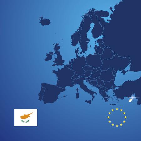 mapa de europa: Chipre mapa de la cubierta del vector Vectores