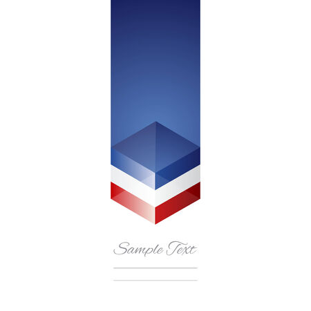 France cube flag white background vector Vector