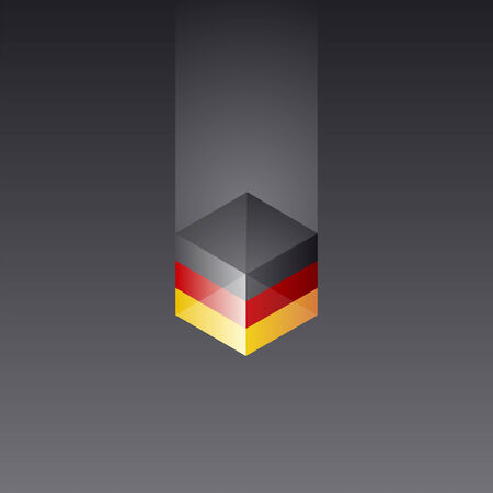 Germany cube flag black background vector Vector