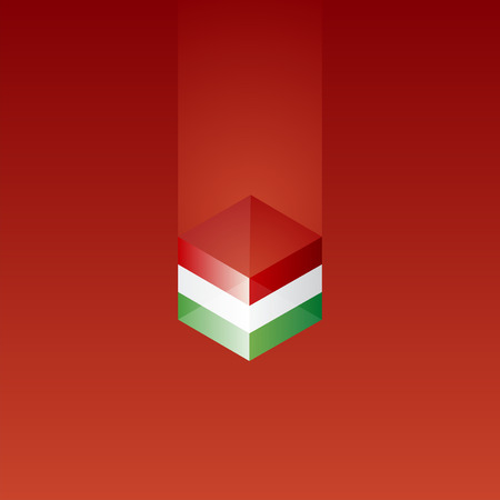 Italy cube flag red background vector Vector