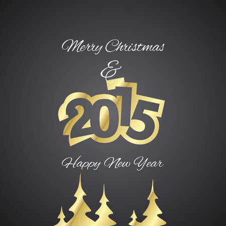 advent calendar: Christmas and Gold Year 2015 black background vector