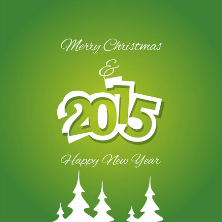 advent calendar: Christmas and White Year 2015 green background vector