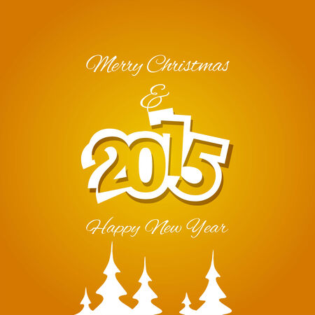 advent calendar: Christmas and White Year 2015 orange background vector