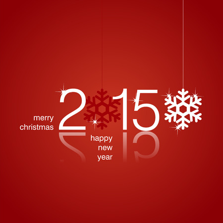 White 2015 snowflakes red background