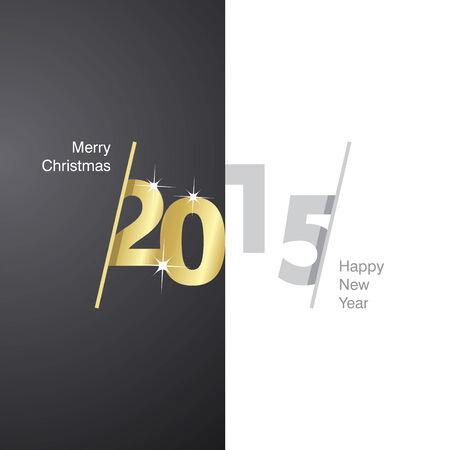 advent calendar: 2015 Happy New Year black gold gray background Illustration