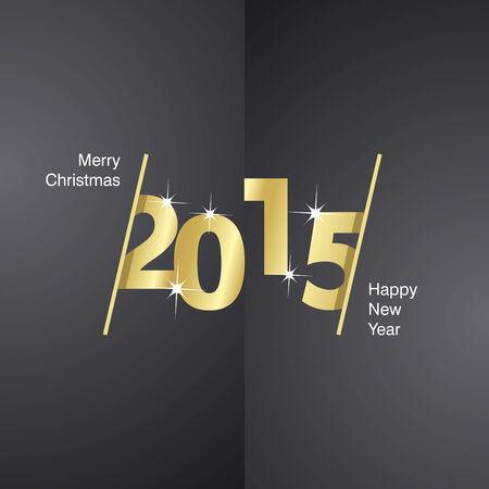 advent calendar: 2015 Happy New Year gold black background