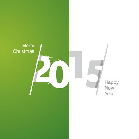 advent calendar: 2015 Happy New Year green white gray background Illustration