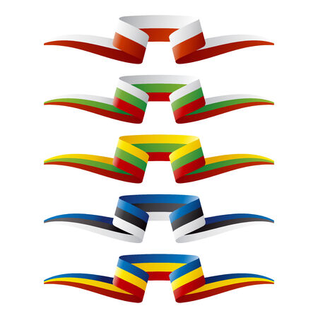 europe flags: Abstract color East Europe flags ribbon