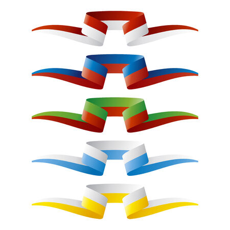 european flags: Abstract color European flags ribbon