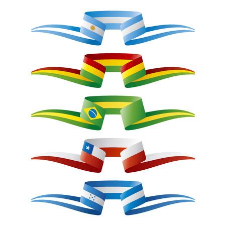 Resumen de color de Sudamérica banderas cinta