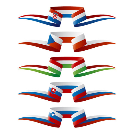 southeast europe: Abstract color South-East Europe flags ribbon