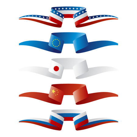 japan flag: Abstract color World power flags ribbon