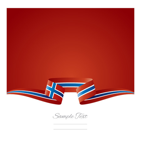 Abstract background Norway flag ribbon Illustration