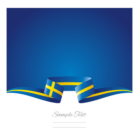 Abstract background Sweden flag ribbon
