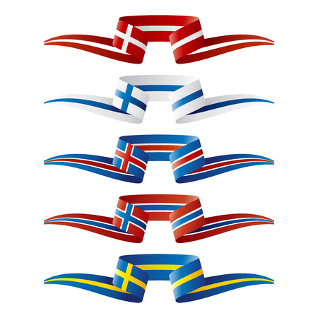 europe flags: Abstract color North Europe flags ribbon
