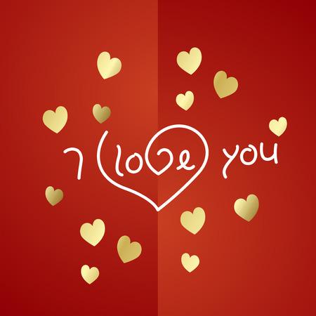 gold heart: I love you gold heart background vector Illustration